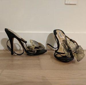 Badgley Mischka black gold heels - size 9